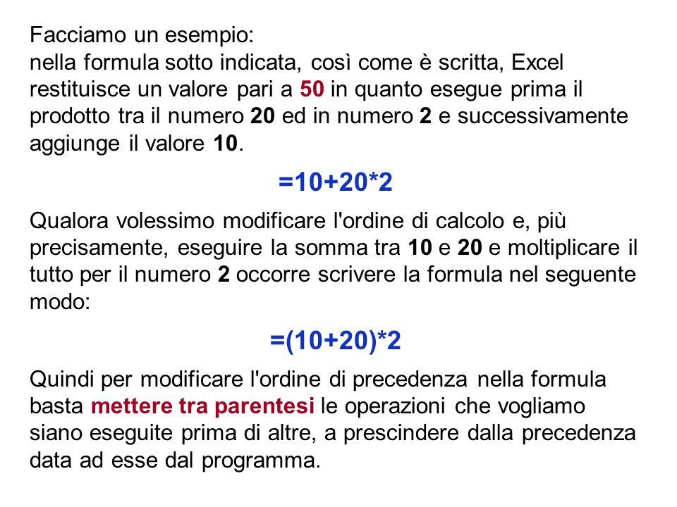Facciamo un esempio: nella formula sotto indicata, così come è scritta, Excel restituisce un valore pari a 50 in quanto esegue prima il prodotto tra il numero 20 ed in numero 2 e successivamente aggiunge il valore 10.