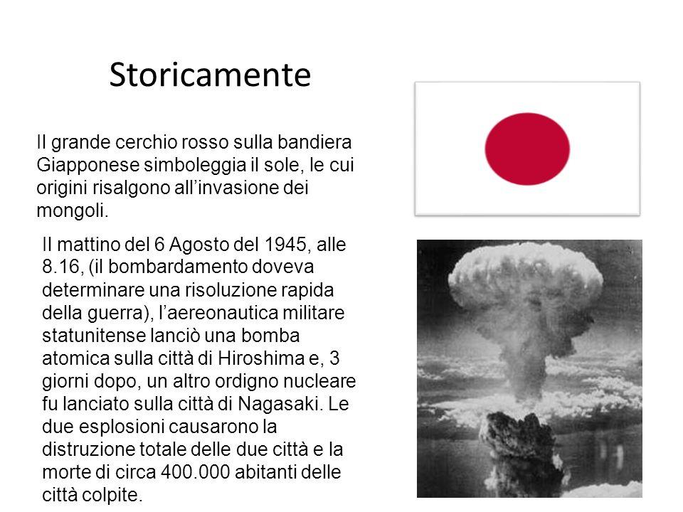 Storicamente Il grande cerchio rosso sulla bandiera Giapponese simboleggia il sole, le cui origini risalgono allinvasione dei mongoli. Il mattino del