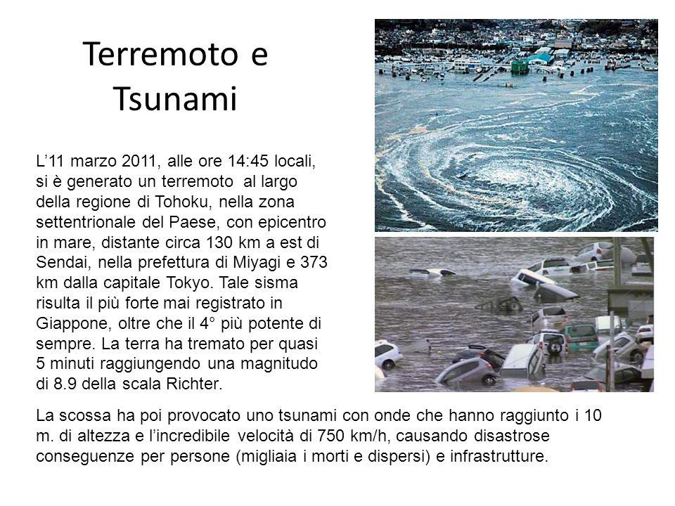 Terremoto e Tsunami L11 marzo 2011, alle ore 14:45 locali, si è generato un terremoto al largo della regione di Tohoku, nella zona settentrionale del