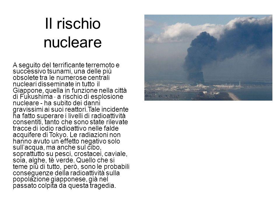 Il rischio nucleare A seguito del terrificante terremoto e successivo tsunami, una delle più obsolete tra le numerose centrali nucleari disseminate in