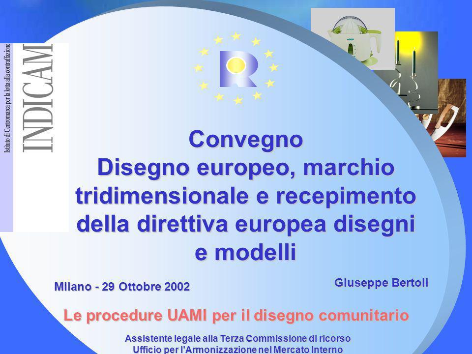 Assistente legale alla Terza Commissione di ricorso Ufficio per lArmonizzazione nel Mercato Interno (marchi, disegni e modelli) Convegno Disegno europ