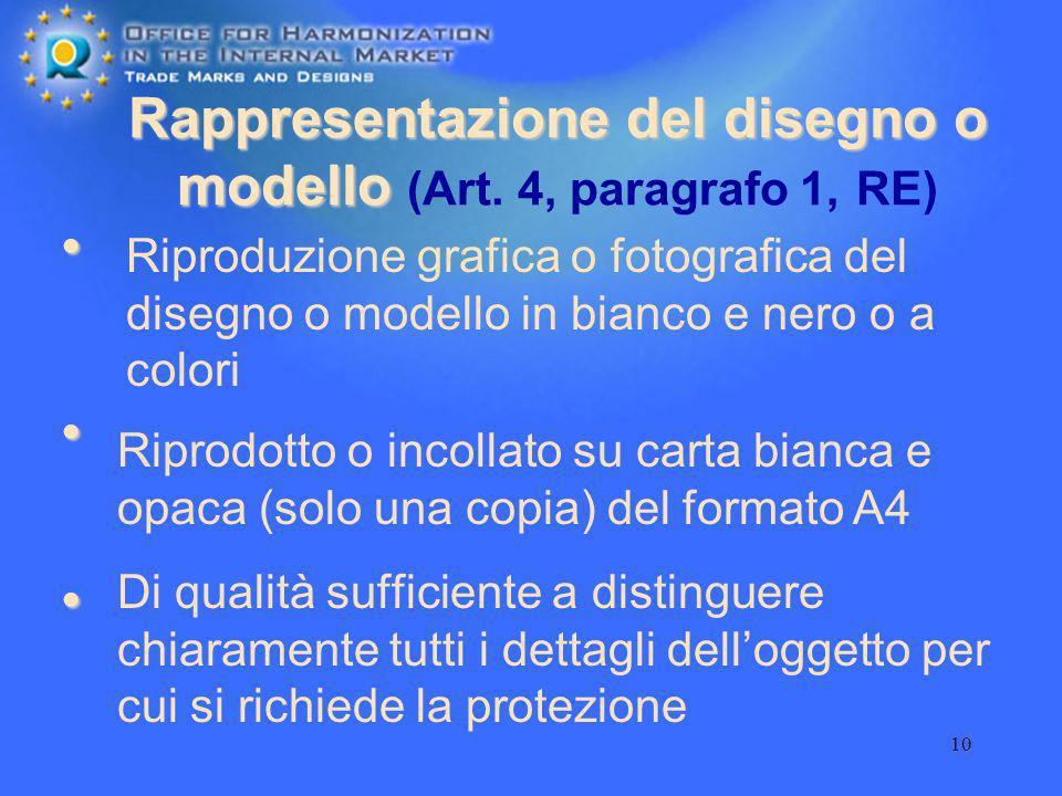 10 Rappresentazione del disegno o modello Rappresentazione del disegno o modello (Art. 4, paragrafo 1, RE) Di qualità sufficiente a distinguere chiara