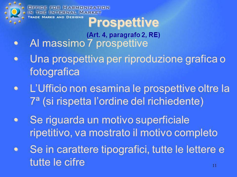 11 Prospettive Al massimo 7 prospettive Una prospettiva per riproduzione grafica o fotografica (Art. 4, paragrafo 2, RE) LUfficio non esamina le prosp