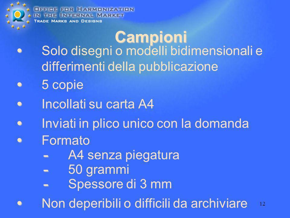 12 Campioni Incollati su carta A4 Solo disegni o modelli bidimensionali e differimenti della pubblicazione 5 copie Inviati in plico unico con la doman