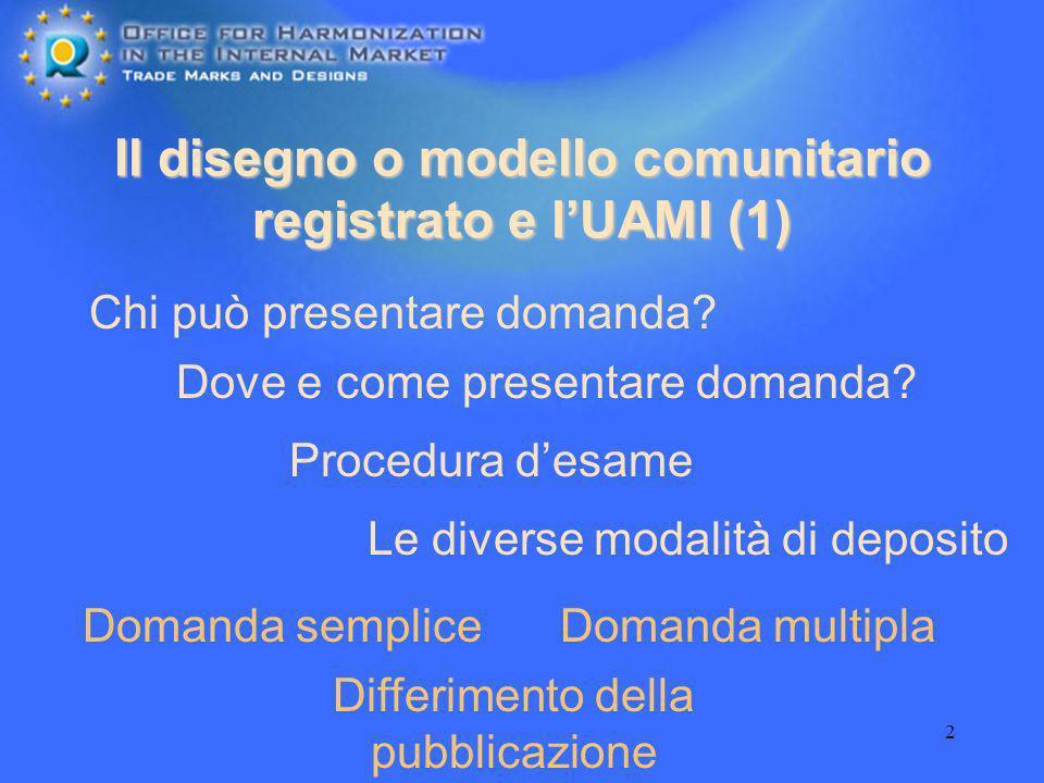 2 Il disegno o modello comunitario registrato e lUAMI (1) Procedura desame Chi può presentare domanda? Dove e come presentare domanda? Domanda semplic