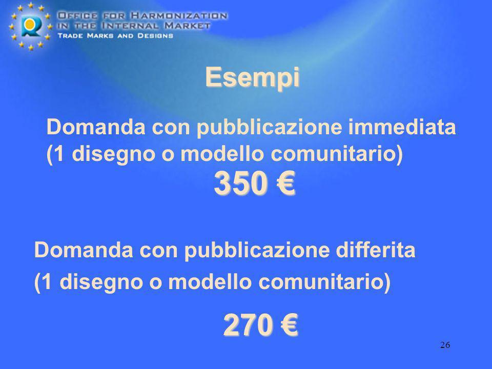 26 Esempi Domanda con pubblicazione immediata (1 disegno o modello comunitario) Domanda con pubblicazione differita (1 disegno o modello comunitario)