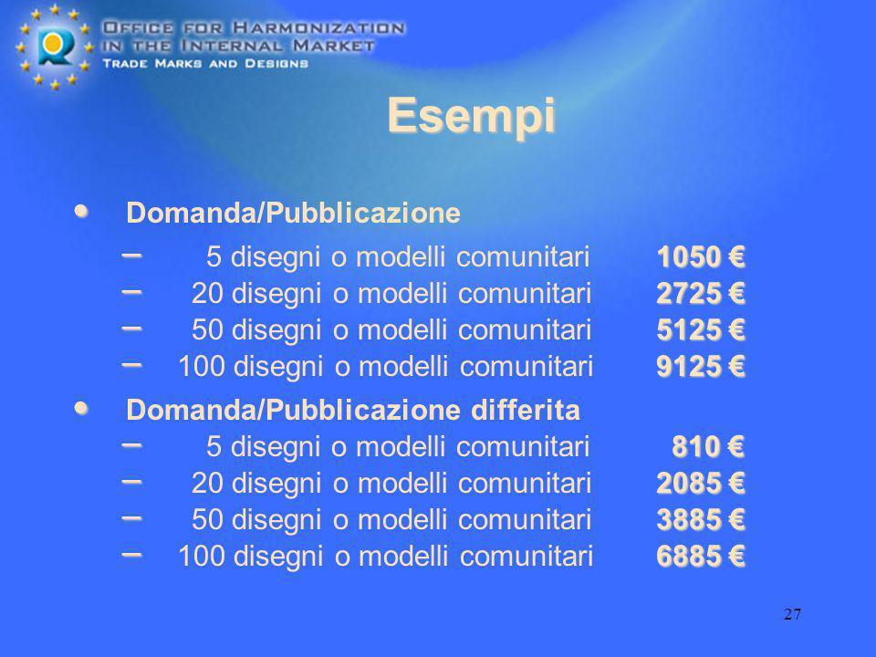 27 Domanda/Pubblicazione differita Domanda/Pubblicazione – 5 disegni o modelli comunitari – – – – – – – 20 disegni o modelli comunitari 50 disegni o m