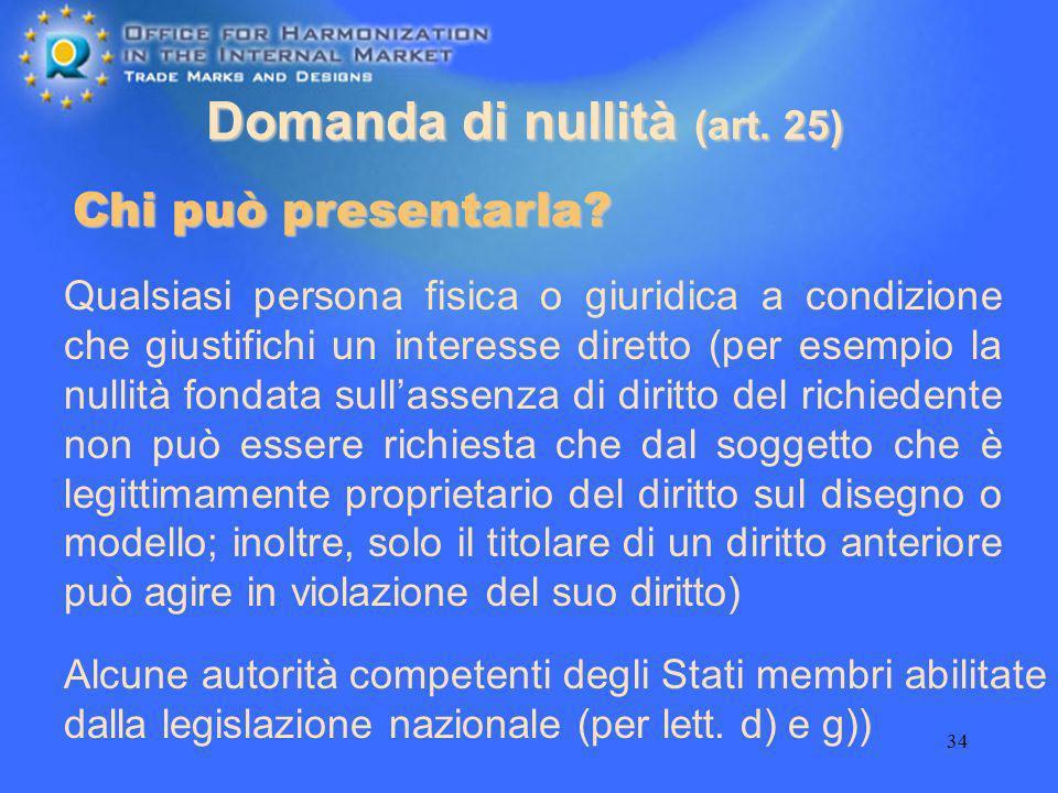 34 Domanda di nullità (art. 25) Alcune autorità competenti degli Stati membri abilitate dalla legislazione nazionale (per lett. d) e g)) Chi può prese