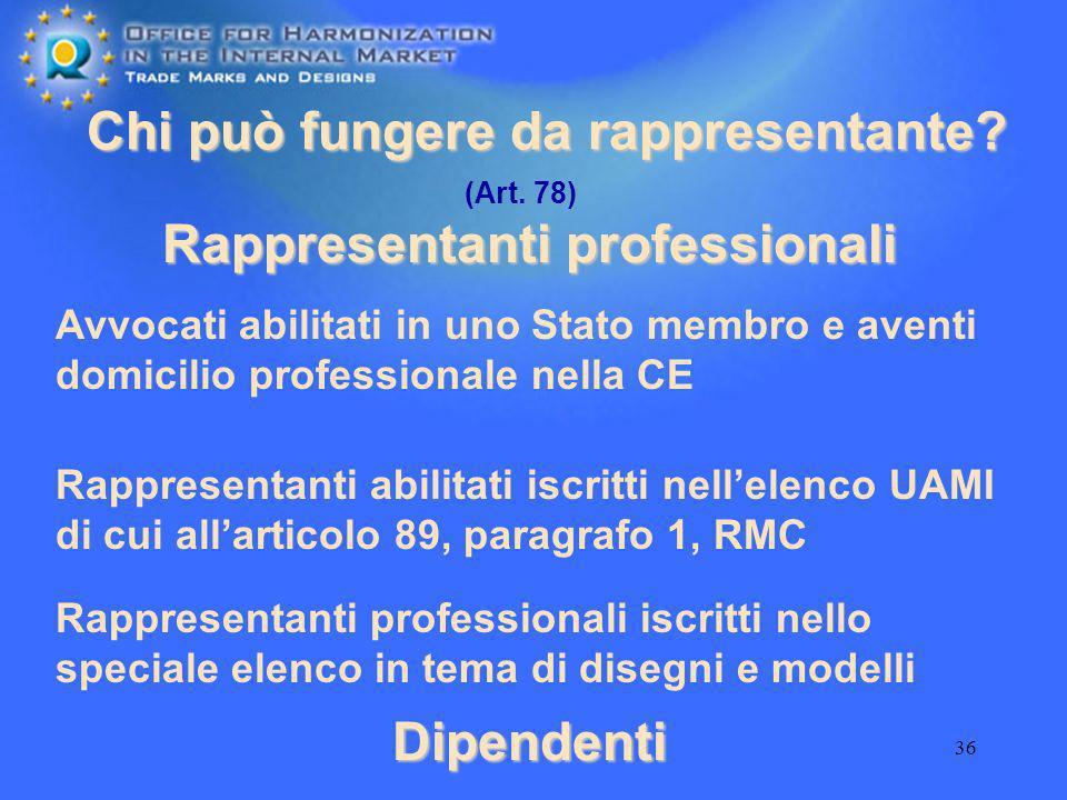 36 Chi può fungere da rappresentante? Dipendenti Rappresentanti professionali Avvocati abilitati in uno Stato membro e aventi domicilio professionale