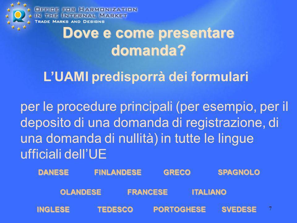 7 Dove e come presentare domanda? per le procedure principali (per esempio, per il deposito di una domanda di registrazione, di una domanda di nullità