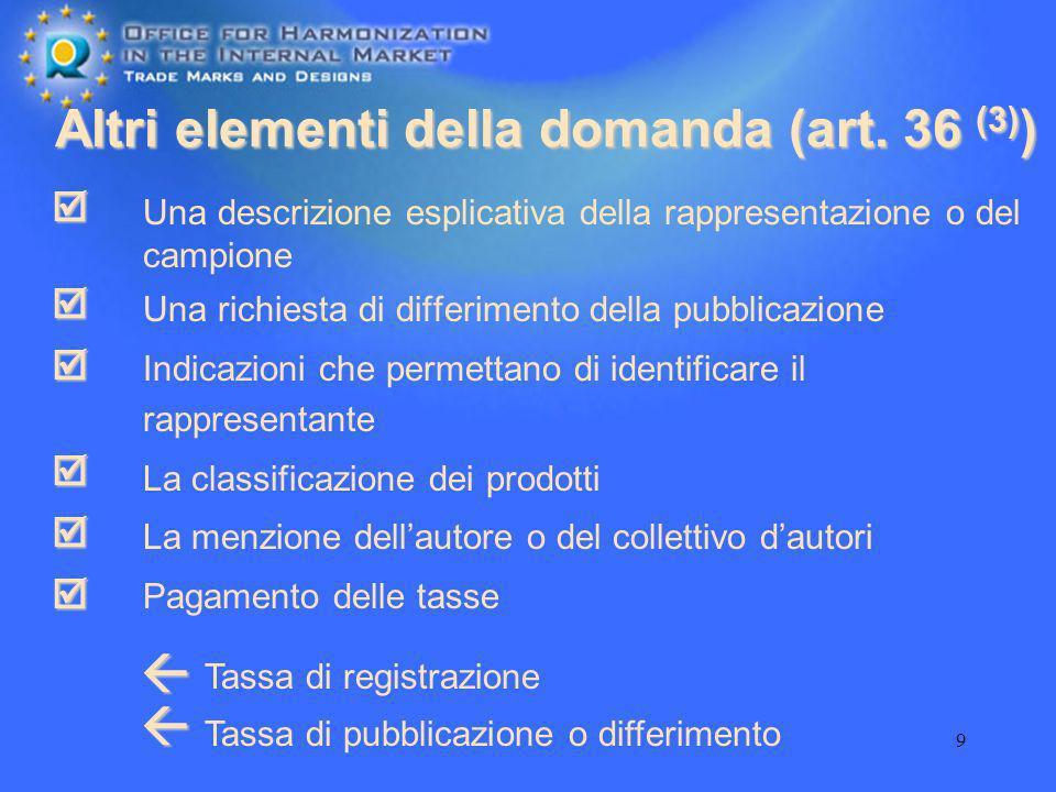 9 Altri elementi della domanda (art. 36 (3) ) Una descrizione esplicativa della rappresentazione o del campione Una richiesta di differimento della pu