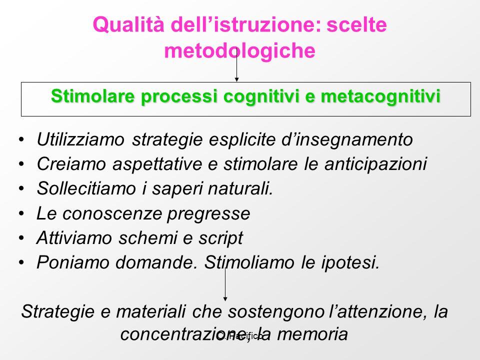 C. Pacifico Qualità dellistruzione: scelte metodologiche Stimolare processi cognitivi e metacognitivi Strategie e materiali che sostengono lattenzione