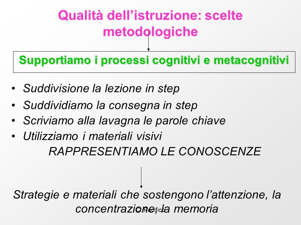 C. Pacifico Qualità dellistruzione: scelte metodologiche Supportiamo i processi cognitivi e metacognitivi Strategie e materiali che sostengono lattenz