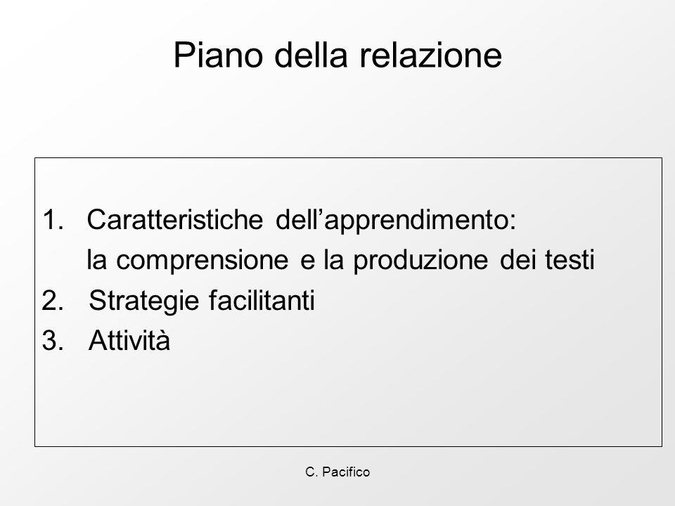 C. Pacifico Piano della relazione 1.Caratteristiche dellapprendimento: la comprensione e la produzione dei testi 2. Strategie facilitanti 3. Attività