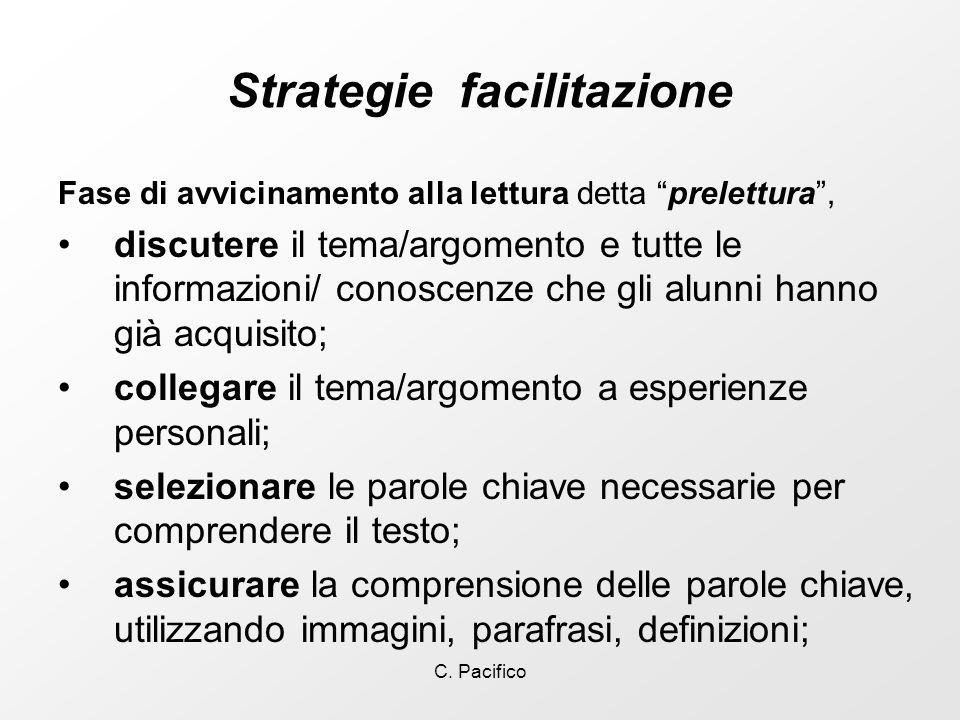 C. Pacifico Strategie facilitazione Fase di avvicinamento alla lettura detta prelettura, discutere il tema/argomento e tutte le informazioni/ conoscen