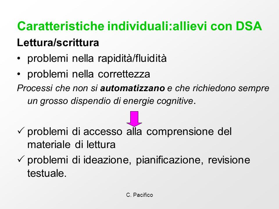 C. Pacifico Caratteristiche individuali:allievi con DSA Lettura/scrittura problemi nella rapidità/fluidità problemi nella correttezza Processi che non