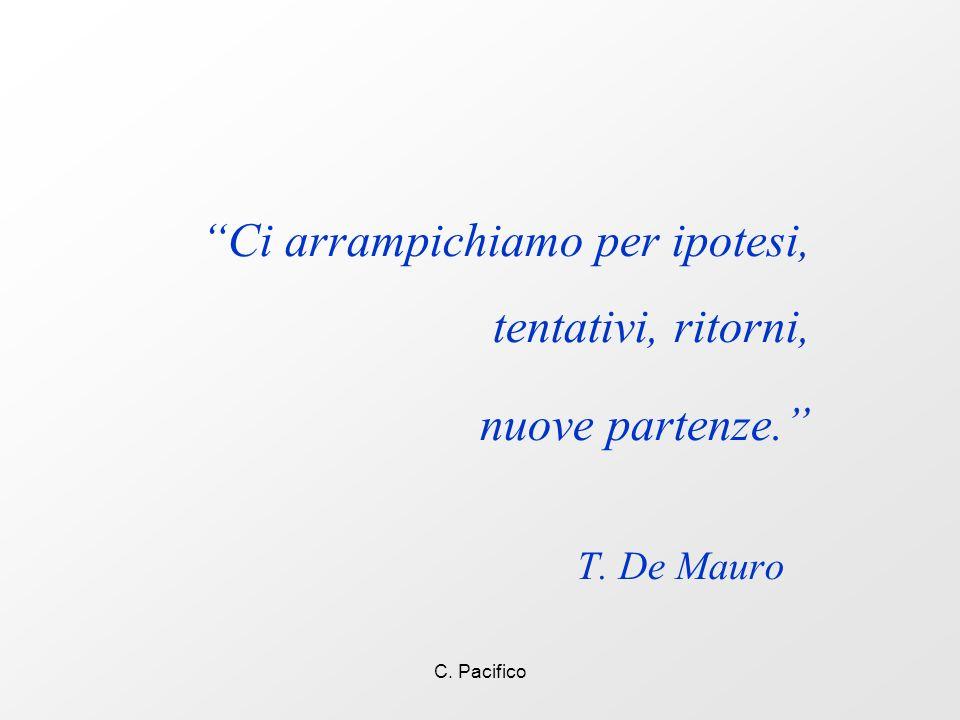 C. Pacifico Ci arrampichiamo per ipotesi, tentativi, ritorni, nuove partenze. T. De Mauro