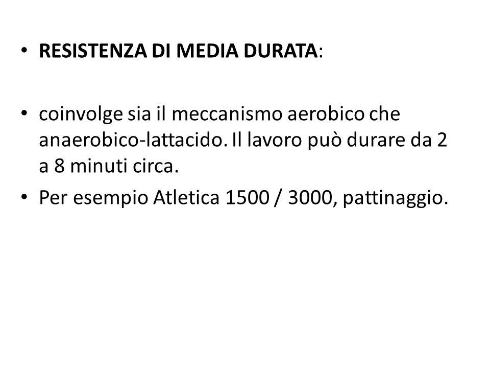 RESISTENZA DI MEDIA DURATA: coinvolge sia il meccanismo aerobico che anaerobico-lattacido. Il lavoro può durare da 2 a 8 minuti circa. Per esempio Atl
