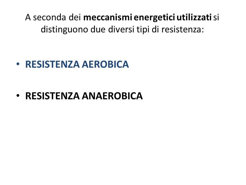 A seconda dei meccanismi energetici utilizzati si distinguono due diversi tipi di resistenza: RESISTENZA AEROBICA RESISTENZA ANAEROBICA