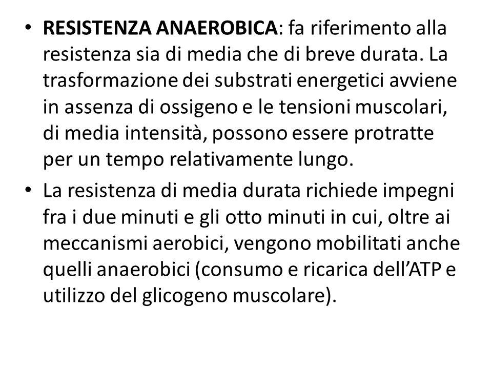 RESISTENZA ANAEROBICA: fa riferimento alla resistenza sia di media che di breve durata. La trasformazione dei substrati energetici avviene in assenza