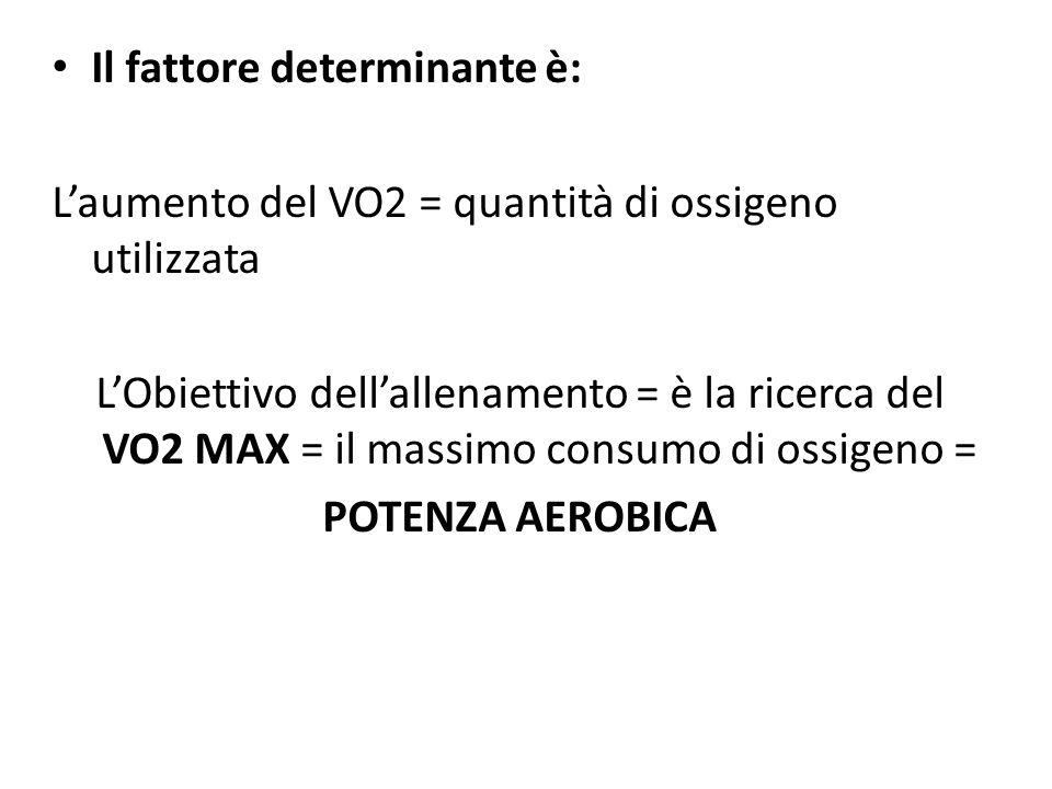Il fattore determinante è: Laumento del VO2 = quantità di ossigeno utilizzata LObiettivo dellallenamento = è la ricerca del VO2 MAX = il massimo consu