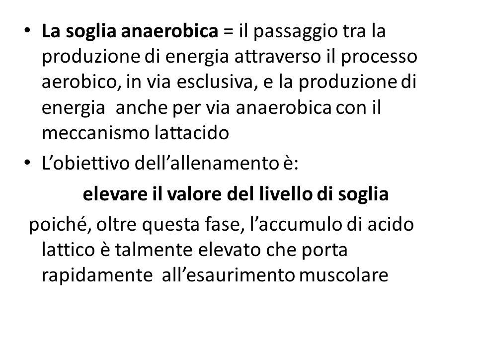 La soglia anaerobica = il passaggio tra la produzione di energia attraverso il processo aerobico, in via esclusiva, e la produzione di energia anche p