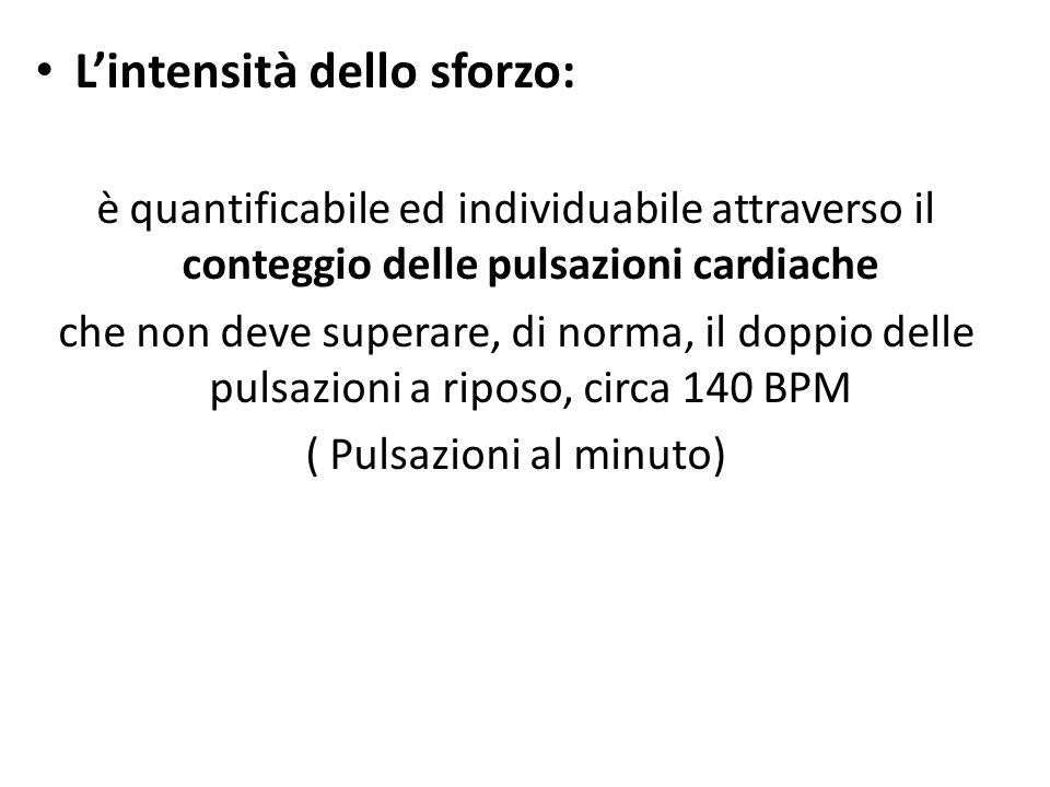 Lintensità dello sforzo: è quantificabile ed individuabile attraverso il conteggio delle pulsazioni cardiache che non deve superare, di norma, il dopp