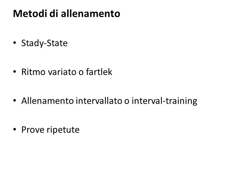 Metodi di allenamento Stady-State Ritmo variato o fartlek Allenamento intervallato o interval-training Prove ripetute