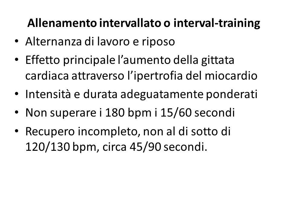 Allenamento intervallato o interval-training Alternanza di lavoro e riposo Effetto principale laumento della gittata cardiaca attraverso lipertrofia d