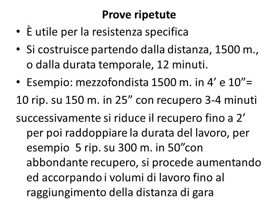 Prove ripetute È utile per la resistenza specifica Si costruisce partendo dalla distanza, 1500 m., o dalla durata temporale, 12 minuti. Esempio: mezzo