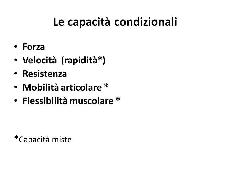 Le capacità condizionali Forza Velocità (rapidità*) Resistenza Mobilità articolare * Flessibilità muscolare * * Capacità miste