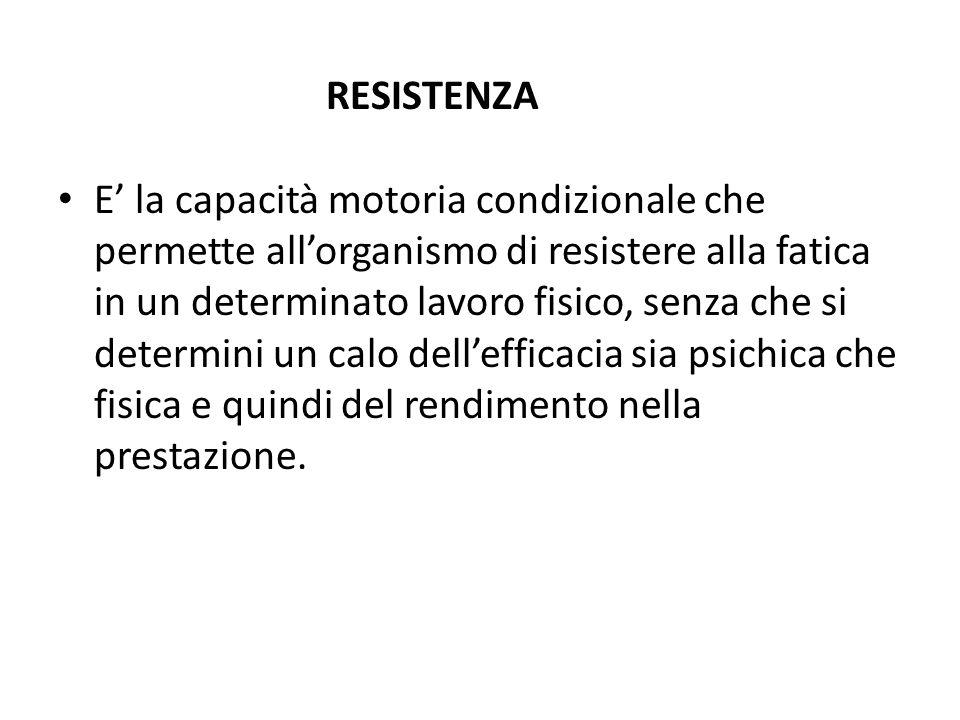 RESISTENZA E la capacità motoria condizionale che permette allorganismo di resistere alla fatica in un determinato lavoro fisico, senza che si determi