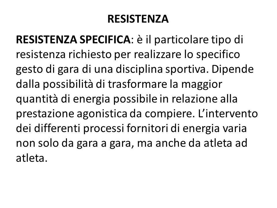 RESISTENZA RESISTENZA SPECIFICA: è il particolare tipo di resistenza richiesto per realizzare lo specifico gesto di gara di una disciplina sportiva. D