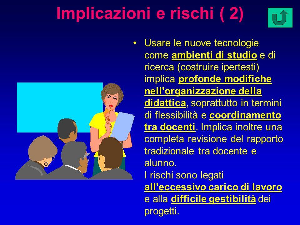 Implicazioni e rischi ( 1) Un uso strumentale delle nuove tecnologie non implica modifiche particolari nell'organizzazione dell'attività didattica. I