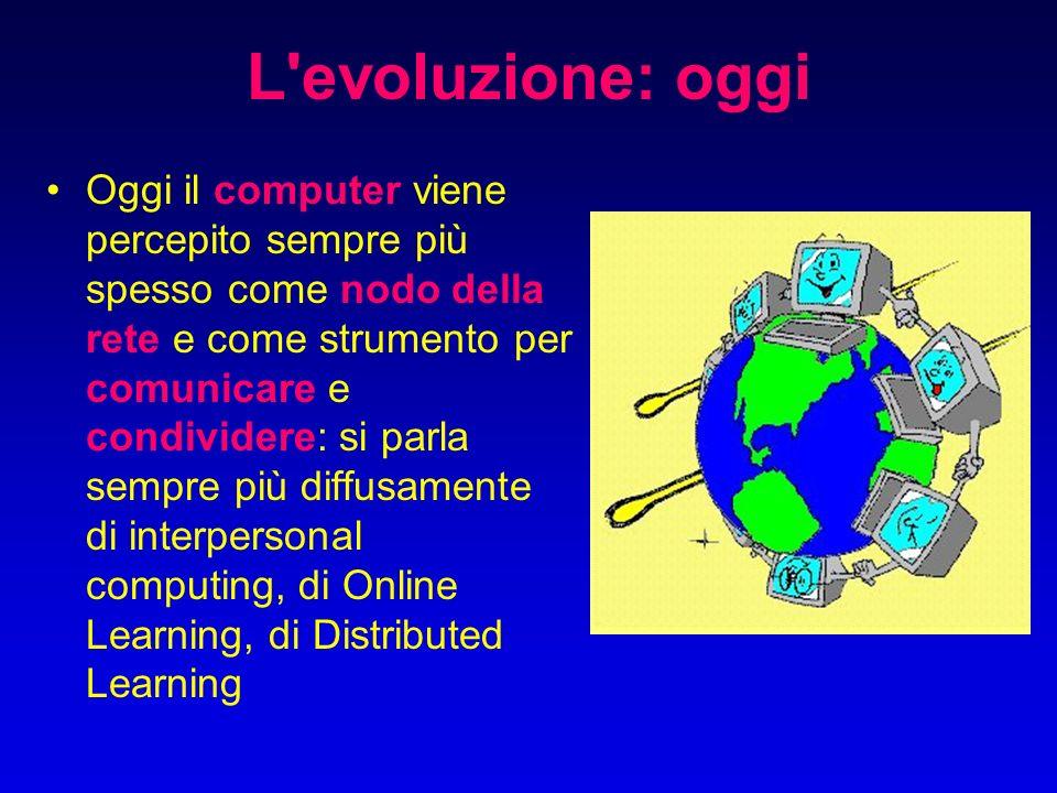 L evoluzione: oggi Oggi il computer viene percepito sempre più spesso come nodo della rete e come strumento per comunicare e condividere: si parla sempre più diffusamente di interpersonal computing, di Online Learning, di Distributed Learning