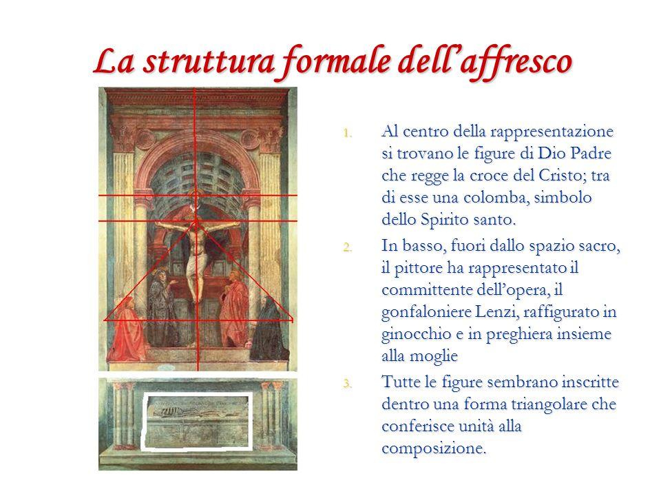 La struttura formale dellaffresco 1. Al centro della rappresentazione si trovano le figure di Dio Padre che regge la croce del Cristo; tra di esse una