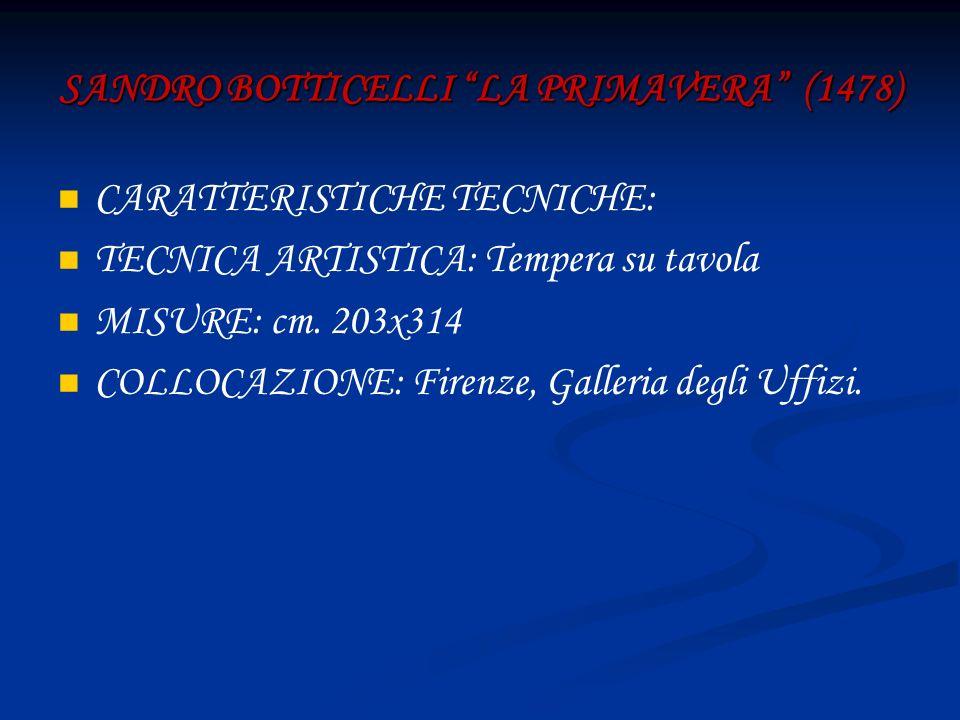 SANDRO BOTTICELLI LA PRIMAVERA (1478) CARATTERISTICHE TECNICHE: TECNICA ARTISTICA: Tempera su tavola MISURE: cm. 203x314 COLLOCAZIONE: Firenze, Galler