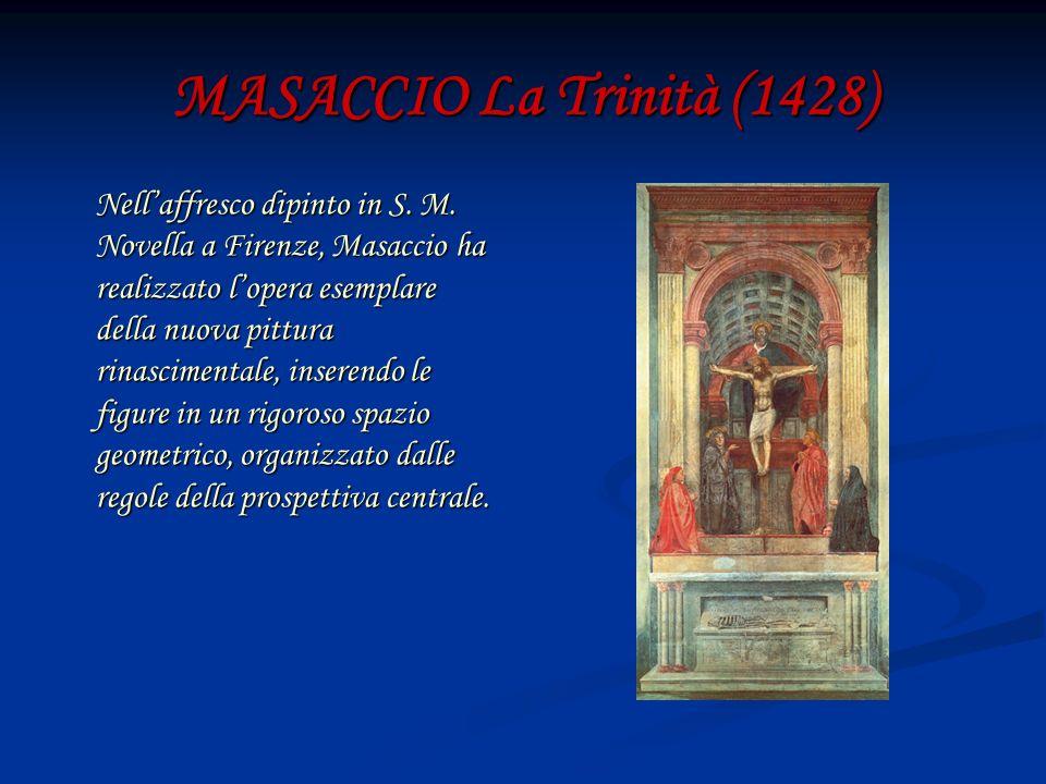MASACCIO La Trinità (1428) Nellaffresco dipinto in S. M. Novella a Firenze, Masaccio ha realizzato lopera esemplare della nuova pittura rinascimentale