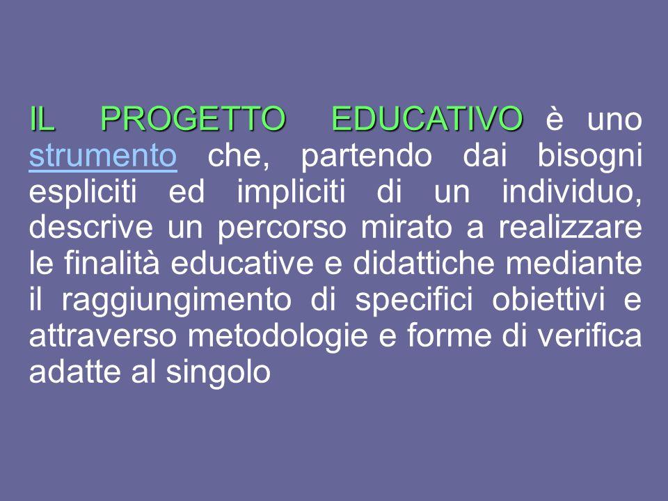 IL PROGETTO EDUCATIVO IL PROGETTO EDUCATIVO è uno strumento che, partendo dai bisogni espliciti ed impliciti di un individuo, descrive un percorso mir