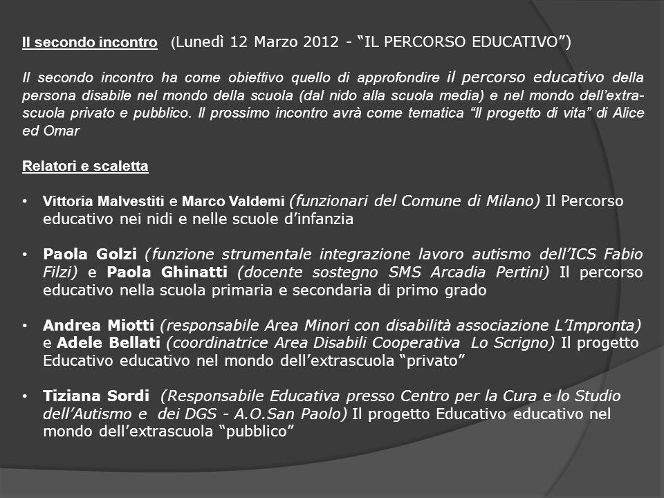 Il secondo incontro ( Lunedì 12 Marzo 2012 - IL PERCORSO EDUCATIVO) Il secondo incontro ha come obiettivo quello di approfondire il percorso educativo
