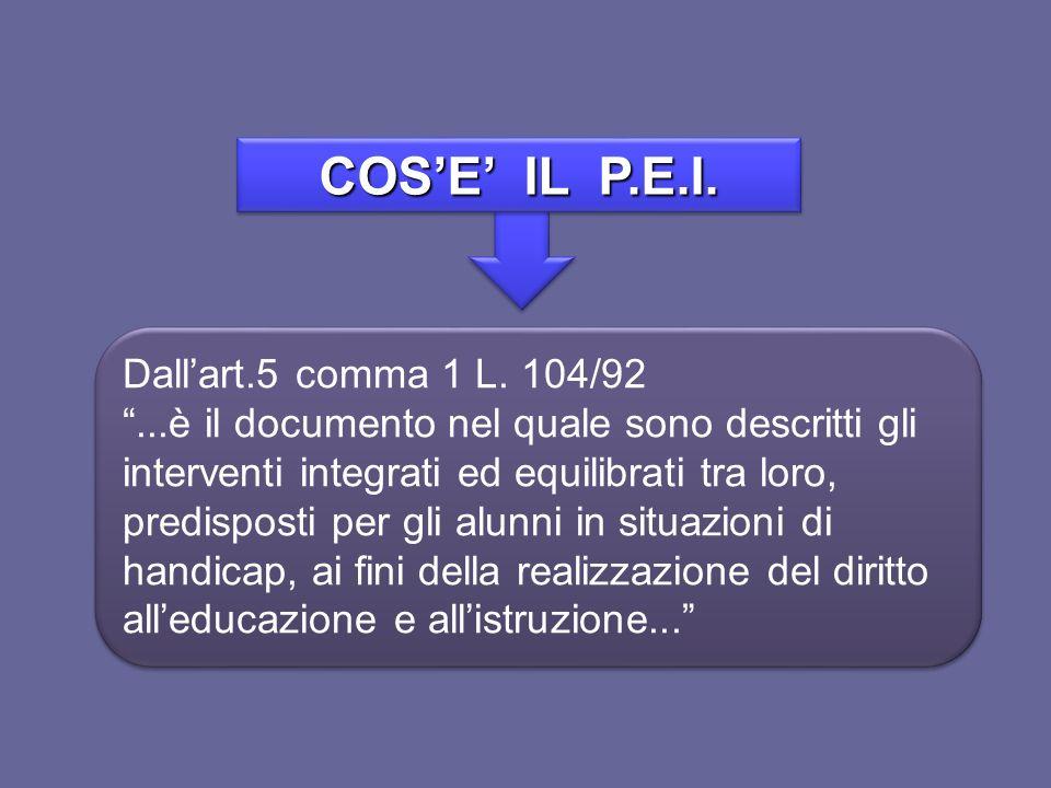 COSE IL P.E.I. Dallart.5 comma 1 L. 104/92...è il documento nel quale sono descritti gli interventi integrati ed equilibrati tra loro, predisposti per