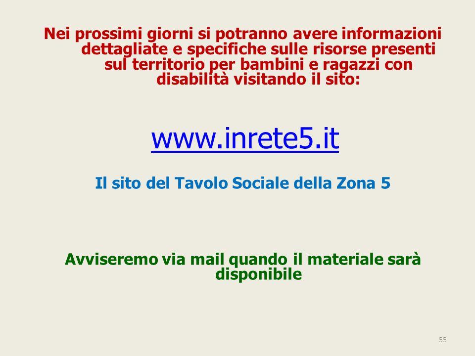55 www.inrete5.it Nei prossimi giorni si potranno avere informazioni dettagliate e specifiche sulle risorse presenti sul territorio per bambini e raga