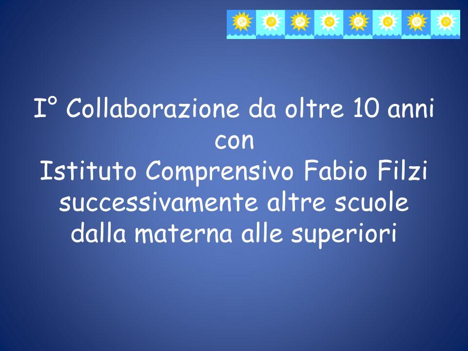 I° Collaborazione da oltre 10 anni con Istituto Comprensivo Fabio Filzi successivamente altre scuole dalla materna alle superiori