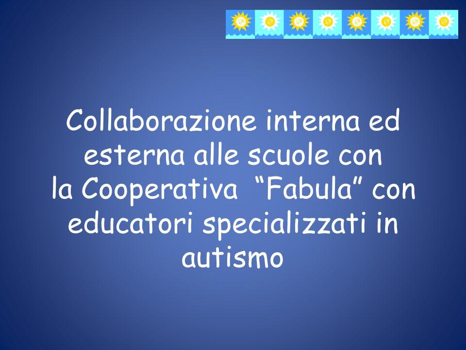 Collaborazione interna ed esterna alle scuole con la Cooperativa Fabula con educatori specializzati in autismo