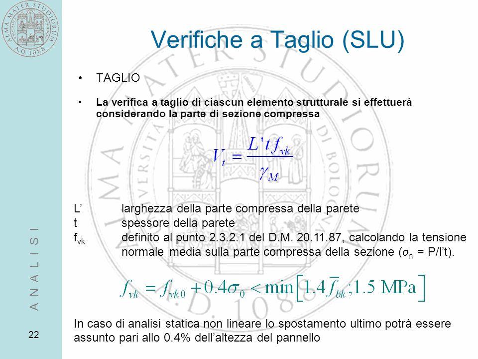 22 Verifiche a Taglio (SLU) TAGLIO La verifica a taglio di ciascun elemento strutturale si effettuerà considerando la parte di sezione compressa Llarg