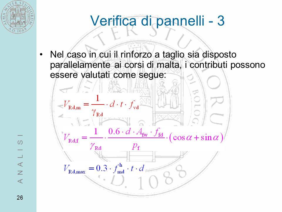 26 Verifica di pannelli - 3 Nel caso in cui il rinforzo a taglio sia disposto parallelamente ai corsi di malta, i contributi possono essere valutati c