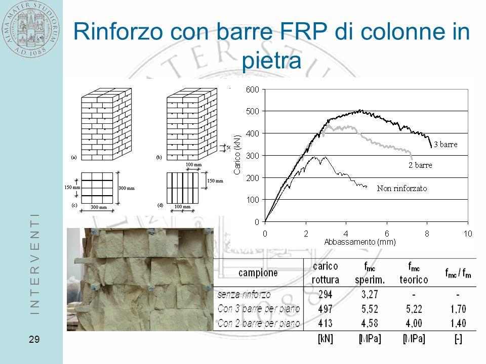 29 Rinforzo con barre FRP di colonne in pietra I N T E R V E N T I
