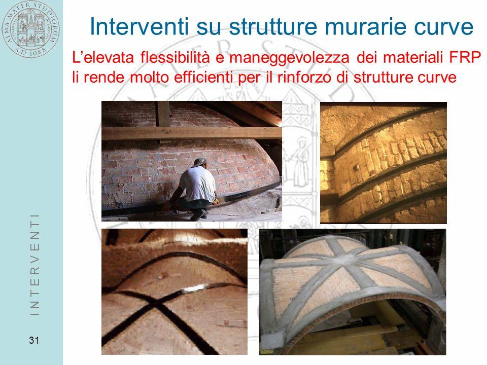 31 Interventi su strutture murarie curve I N T E R V E N T I Lelevata flessibilità e maneggevolezza dei materiali FRP li rende molto efficienti per il