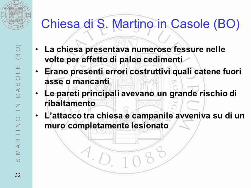 32 Chiesa di S. Martino in Casole (BO) La chiesa presentava numerose fessure nelle volte per effetto di paleo cedimenti Erano presenti errori costrutt