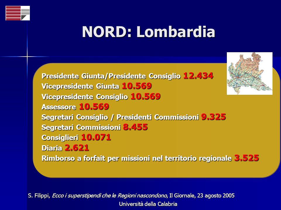 Università della Calabria NORD: Lombardia Presidente Giunta/Presidente Consiglio 12.434 Vicepresidente Giunta 10.569 Vicepresidente Consiglio 10.569 A